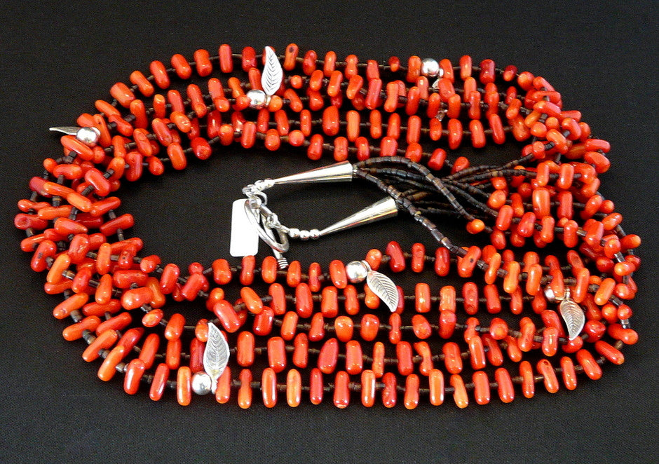 Bamboo Coral 5-Strand Necklace with Pen Shell Heishi