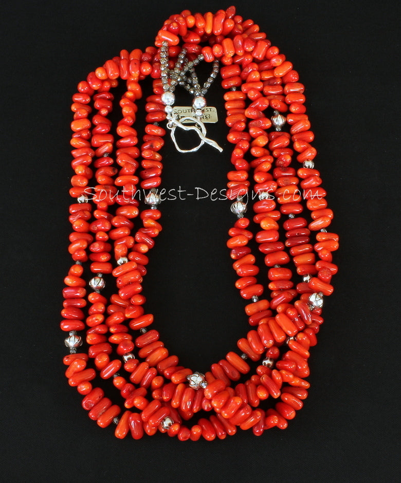 Bamboo Coral Stick 4-Strand Necklace with Fire Polished Glass and Ornate Sterling Silver