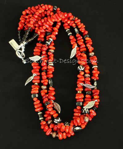 Bamboo Coral Stick 3-Strand Necklace with Hand-Painted Horn Beads, Copper Beads & Heishi, Smoky Quartz and Sterling Silver Leaf Charms