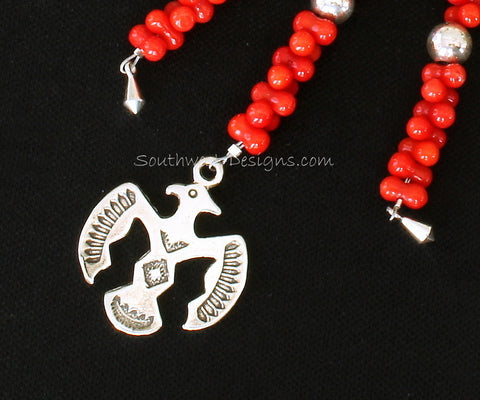 Key Ring with Bamboo Coral, Sterling Silver Thunderbird & Kite Charms, and Sterling Rounds