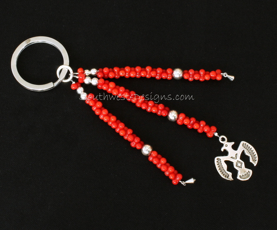 Stainless Steel Key Ring with 3 Strands of Bamboo Coral, Sterling Silver Thunderbird and Kite Charms, and Sterling Rounds