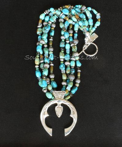 Sterling Silver Naja Pendant with 4 Strands of Turquoise Nuggets, Fire Polished & Picasso Turquoise Glass, 64 Oxidized Sterling Silver Beads, and Sterling Silver Toggle Clasp