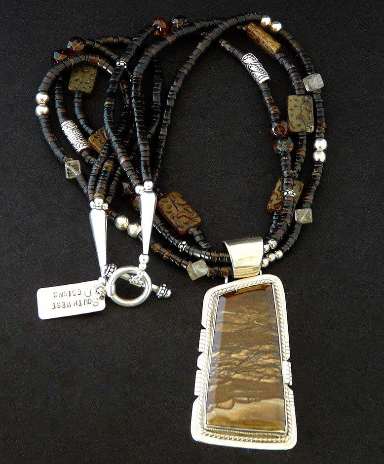 Biggs Jasper & Sterling Pendant with Shell Heishi, Czech Glass & Sterling