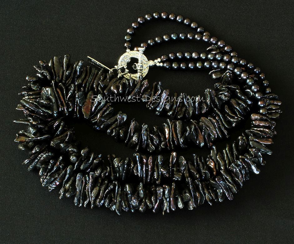 Black Biwa Pearl 2-Strand Necklace with Round Pearls and Ornate Sterling Silver