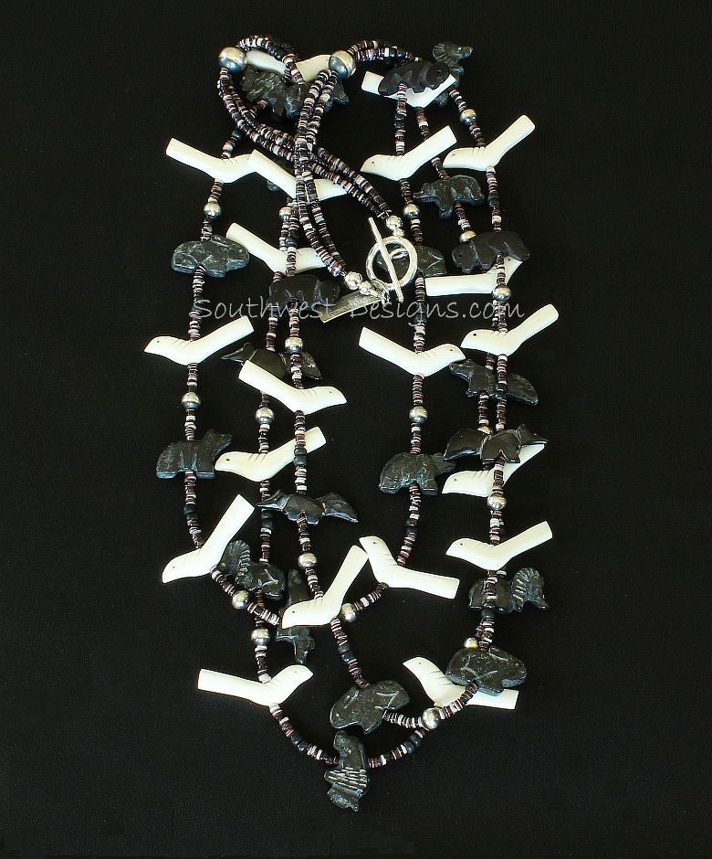 42-Piece Black Horn and Bone Bead Fetish Necklace with Oyster Shell Heishi and Sterling