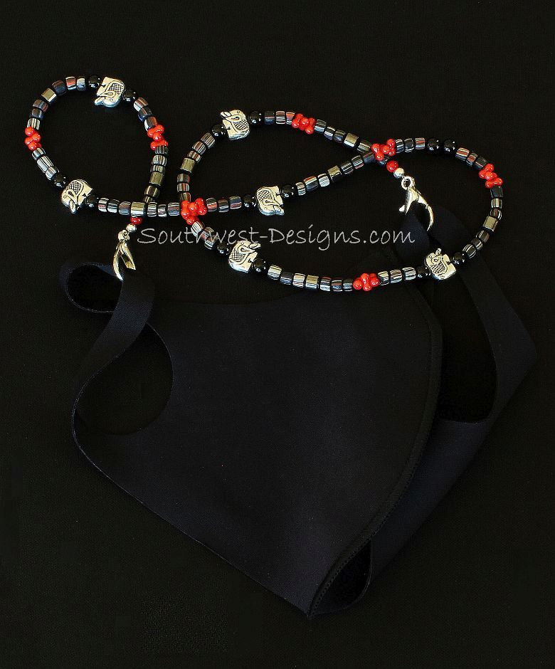Indonesian Glass, Bamboo Coral Onyx Mask Lanyard with Plated Sterling Silver Elephant Beads