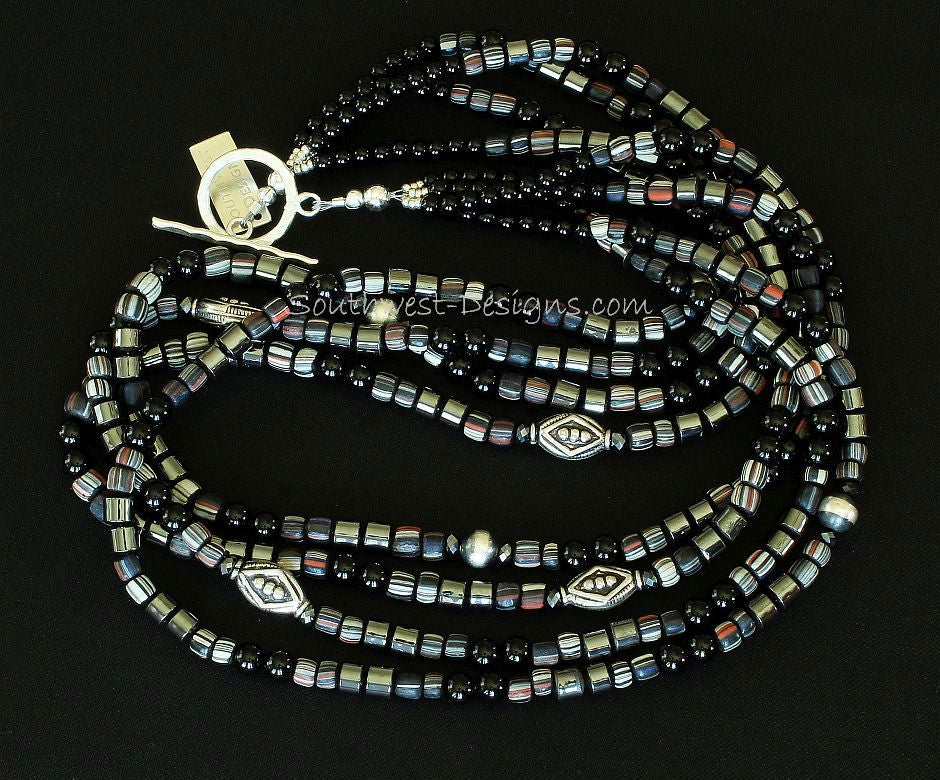 Indonesian Glass, Onyx & Hematite 4-Strand Necklace with Sterling Silver
