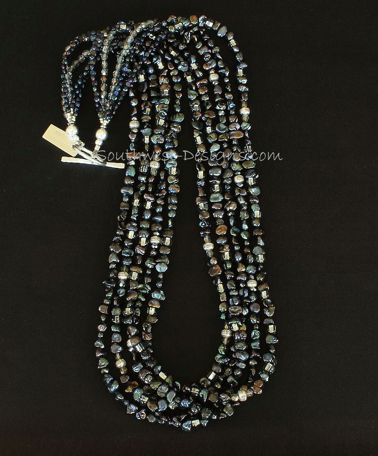 Black Keshi Pearl 5-Strand Necklace with Czech Nailheads, Fire Polished Glass and Sterling Silver