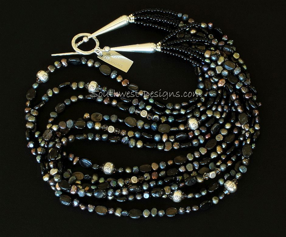 Black Pearl and Hypersthene 6-Strand Necklace with Fire Polished Glass, Sterling Silver Rondelles & Rounds, and Sterling Cones and Toggle Clasp