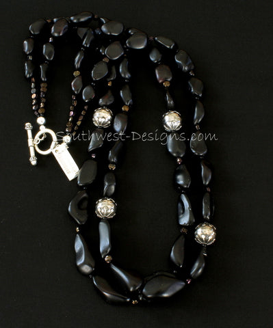 Black Amber 2-Strand Necklace with Bronze Czechoslovakian Nailheads and Oxidized & Polished Sterling Silver