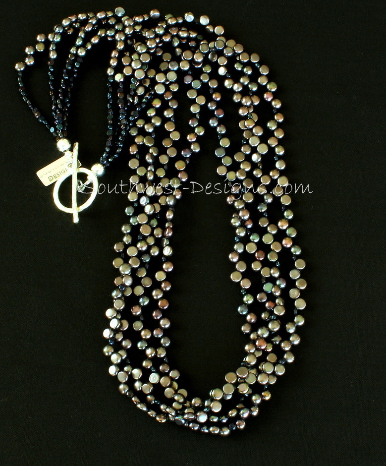 Black Button Pearl 4-Strand Necklace with Vintage Czechoslovakian Nailheads and Sterling Silver