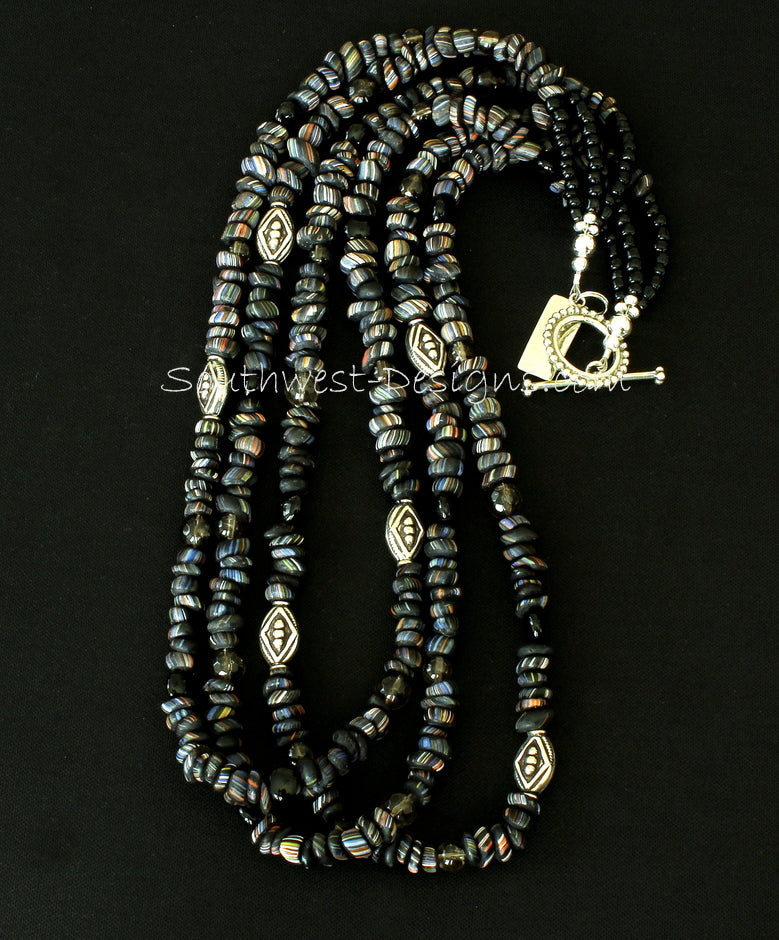 Black Indonesian Glass 3-Strand Necklace with Black Jasper Coin Beads, Smoky Quartz Rounds, and Ornate Sterling Silver