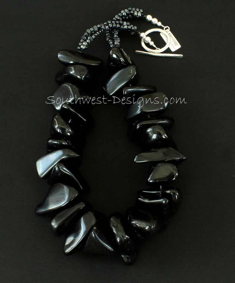 Black Jet Large Nugget Necklace with Vintage Czechoslovakian Nailheads and Sterling Silver