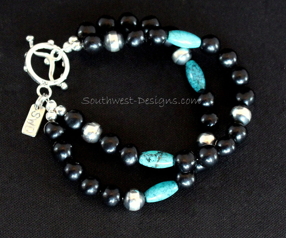 New Mexico Black Jet 2-Strand Bracelet with Turquoise Barrel Beads and Sterling Silver