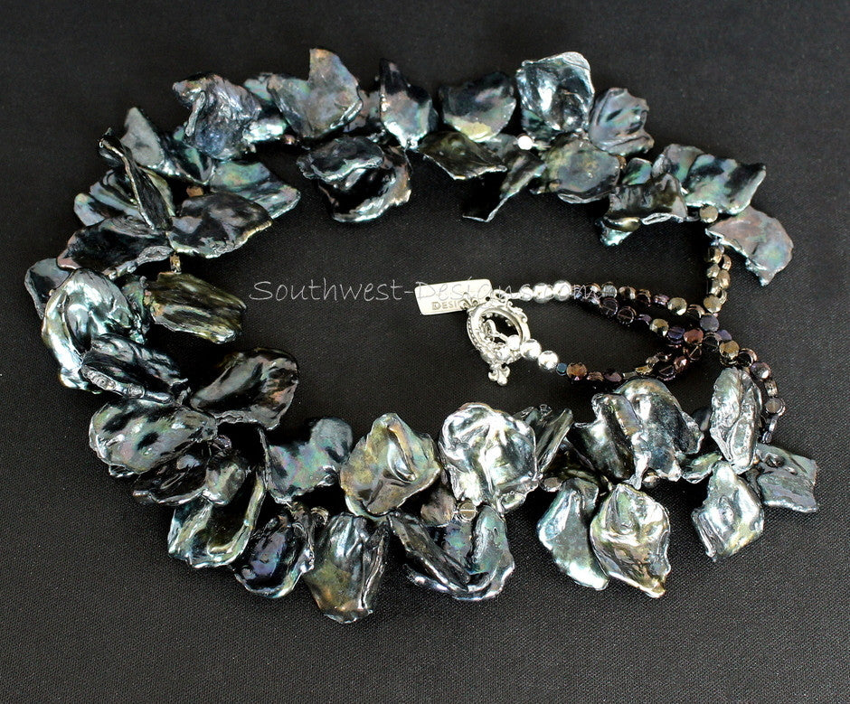 Black Keshi Pearl Necklace with Vintage Czechoslovakian Nailheads and Sterling Silver