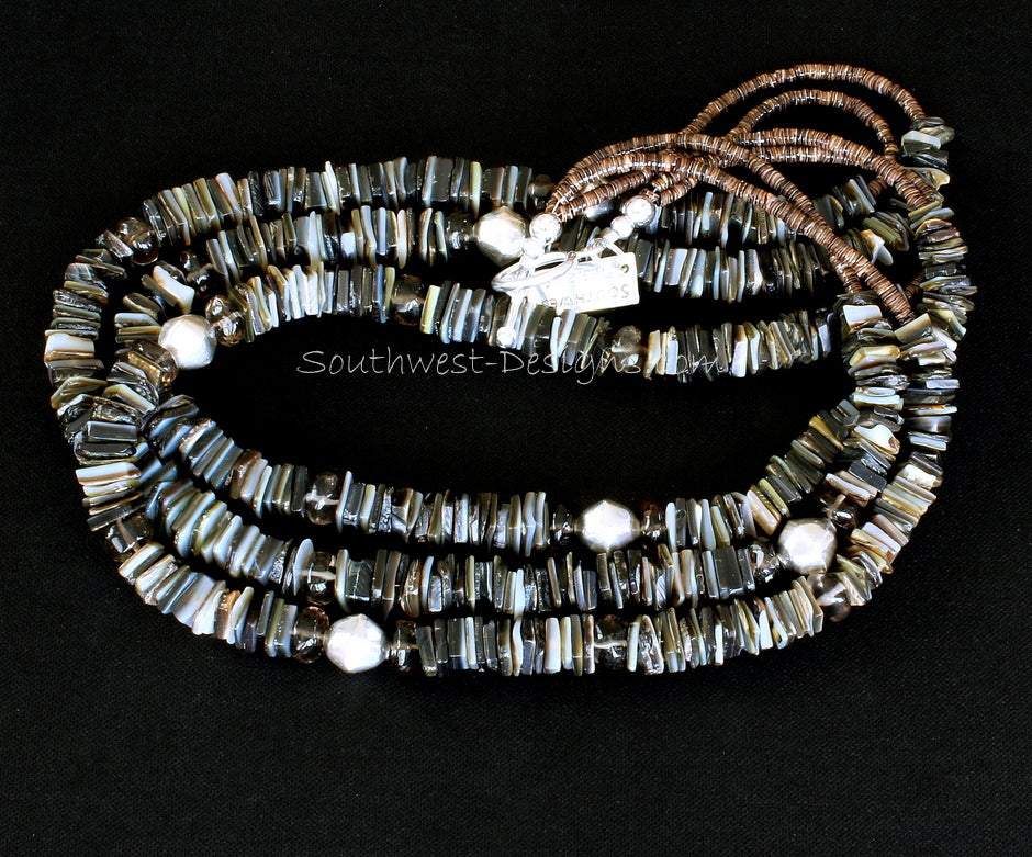 Black Lip Oyster Shell Heishi 3-Strand Necklace with Smoky Quartz, Olive Shell Heishi, and Sterling Silver Faceted Bicones & Toggle Clasp