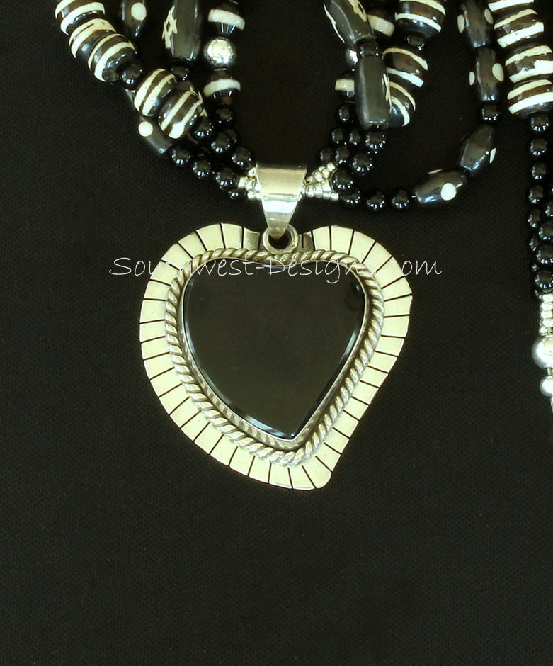 Onyx and Sterling Silver Heart Pendant with Hand-Painted Horn Beads, White-Striped Black Glass Rounds, Onyx Rounds and Sterling Silver