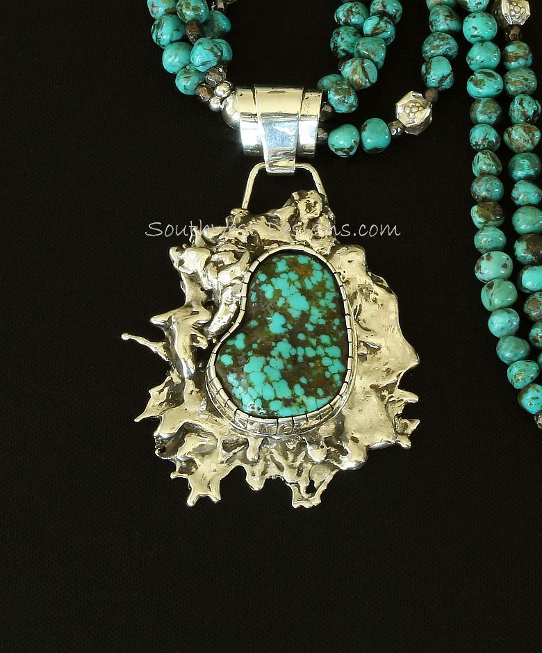 Blue Vein Turquoise and Reticulated Silver Sunburst Pendant with 3 Strands of Turquoise and Sterling