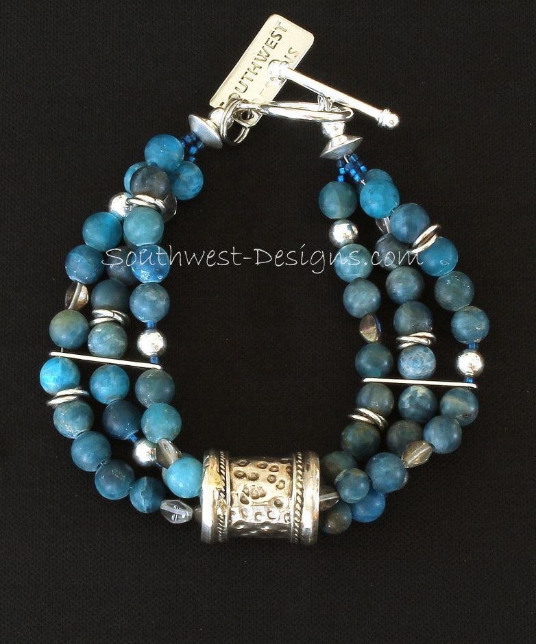 Blue Apatite Round Bead 3-Strand Bracelet with Czech Glass and Ornate Sterling Silver