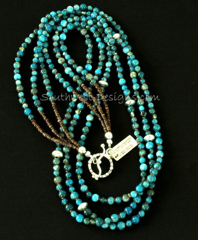 Blue Apatite Round Bead 3-Strand Necklace with Olive Shell Heishi and Sterling Silver