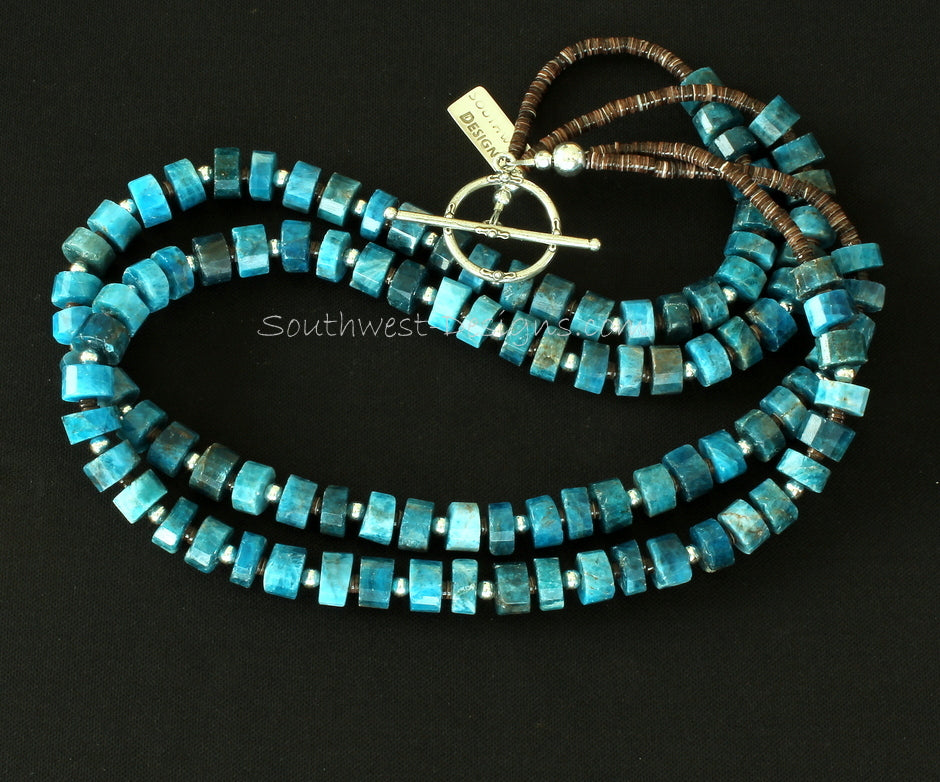 Blue Apatite High-Cut Heishi 2-Strand Necklace with Olive Shell Heishi and Sterling Silver