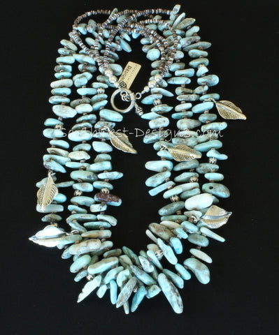 Blue Larimar Opal Spike 3-Strand Necklace with Olive Shell Heishi, Sterling Silver Leaf Charms, and Sterling Beads and Toggle Clasp