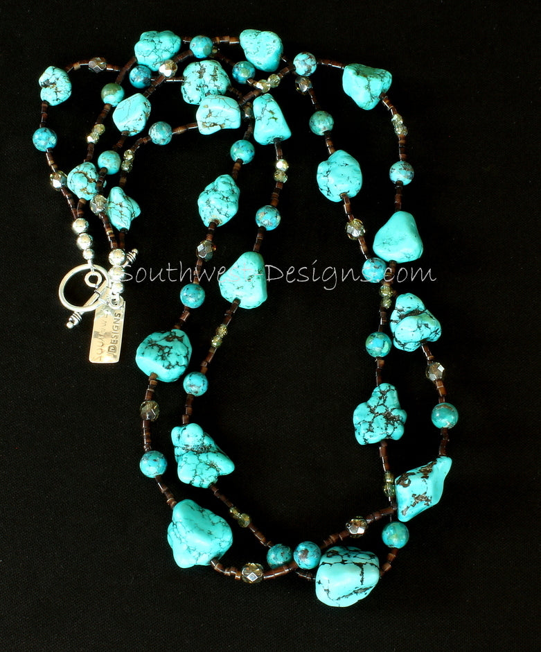 Blue Turquoise Nugget 2-Strand Necklace with Turquoise Rounds, Pen Shell Heishi and Sterling Silver