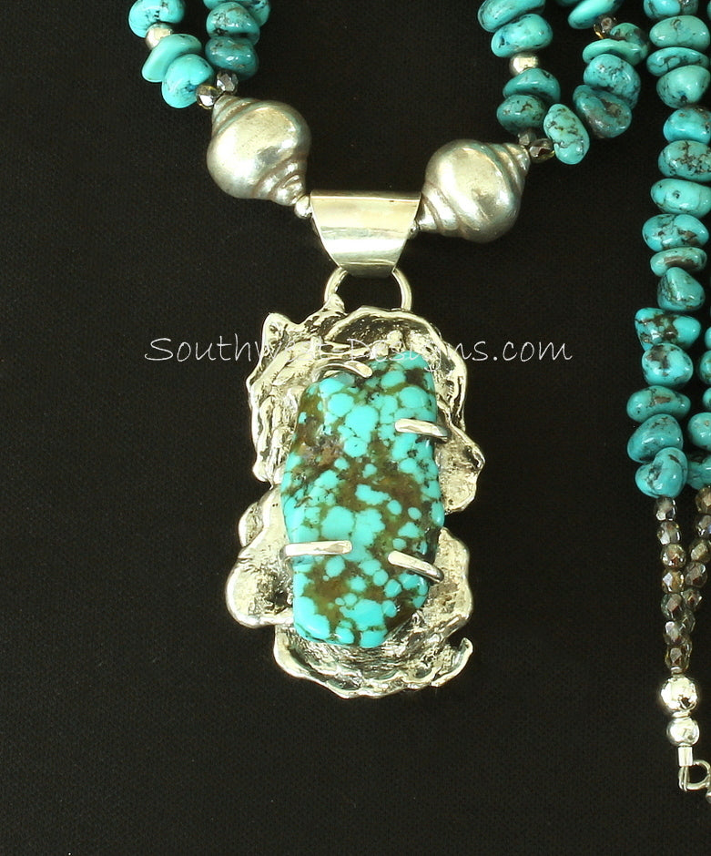 Blue Vein Turquoise and Reticulated Silver Post-Set Pendant with 2 Strands of Turquoise Nuggets and Sterling