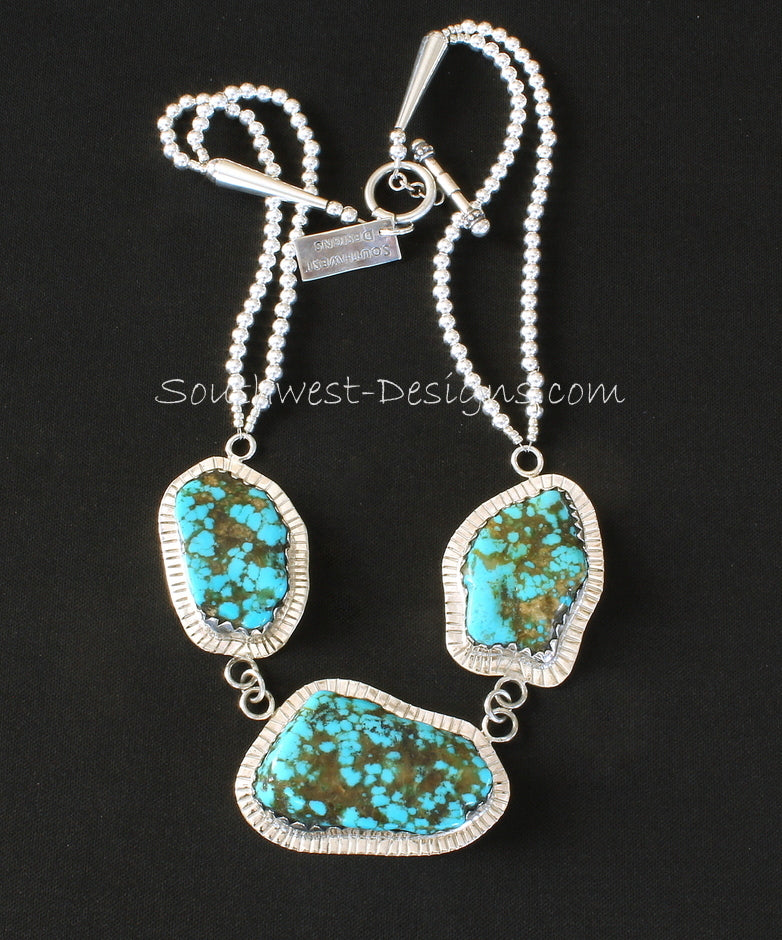 Blue Vein Turquoise and Sterling Silver 3-Pendant Necklace with Sterling Silver Rounds