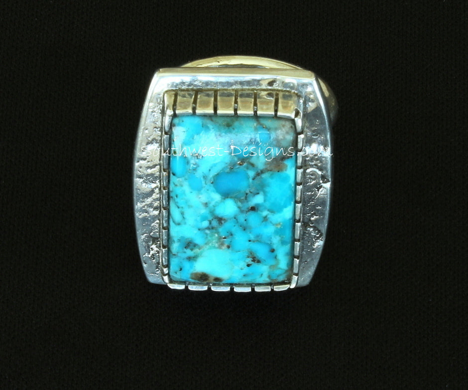 Bonita Blue Turquoise and Textured Sterling Silver Band Ring