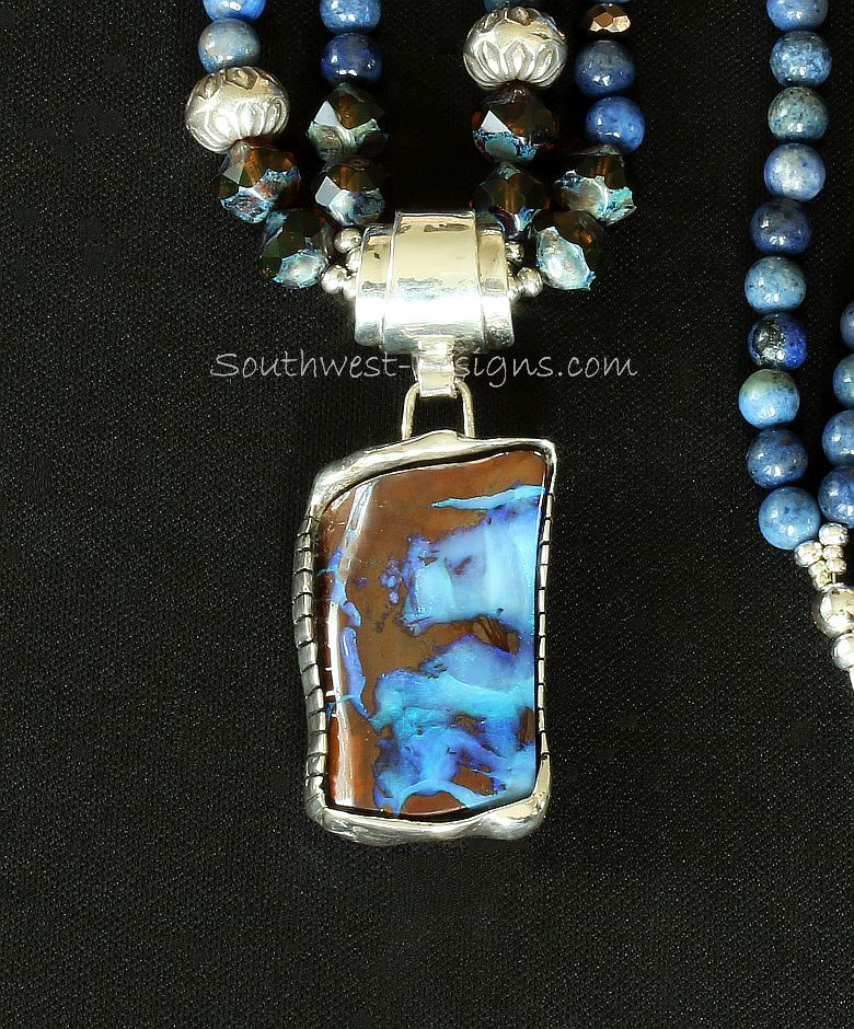 Boulder Opal and Sterling Silver Repousse Pendant with Blue Dumortierite Rounds and Sterling Silver