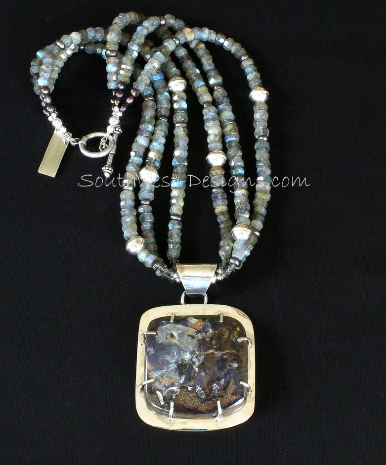 Boulder Opal and Sterling Silver Prong-Set Pendant with 3 Strands of Labradorite Faceted Rondelles, Bronze Nugget Pearls, and Sterling Silver Beads & Toggle Clasp