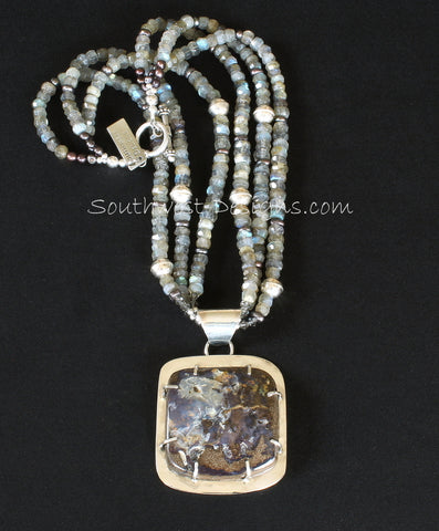 Boulder Opal and Sterling Silver Post Set Pendant with 3 Strands of Labradorite Rondelles and Sterling