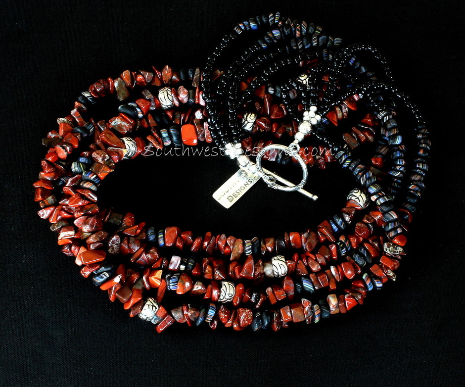 Rainbow Brecciated Jasper 4-Strand Necklace with Indonesian Glass and Sterling Silver