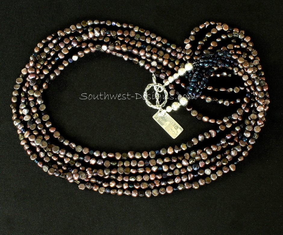 Bronze Nugget Pearl 6-Strand Necklace with Vintage Czechoslovakian Nailheads and Sterling Silver