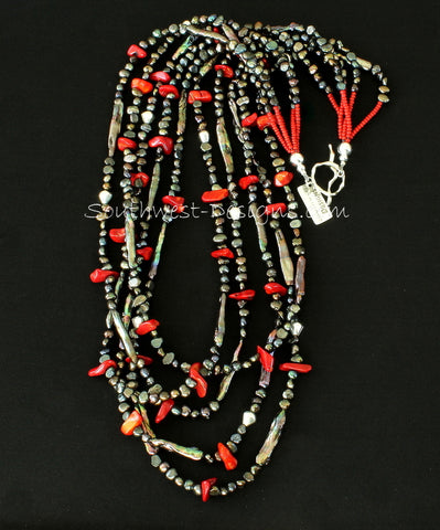 Bronze Nugget Pearl & Stick Pearl 5-Strand Necklace with Coral Chip, Pote Beads and Sterling Silver