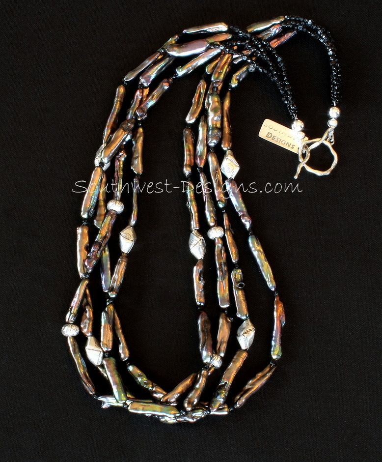 Bronze Stick Pearl 4-Strand Necklace with Vintage Nailheads and Ornate Sterling Silver