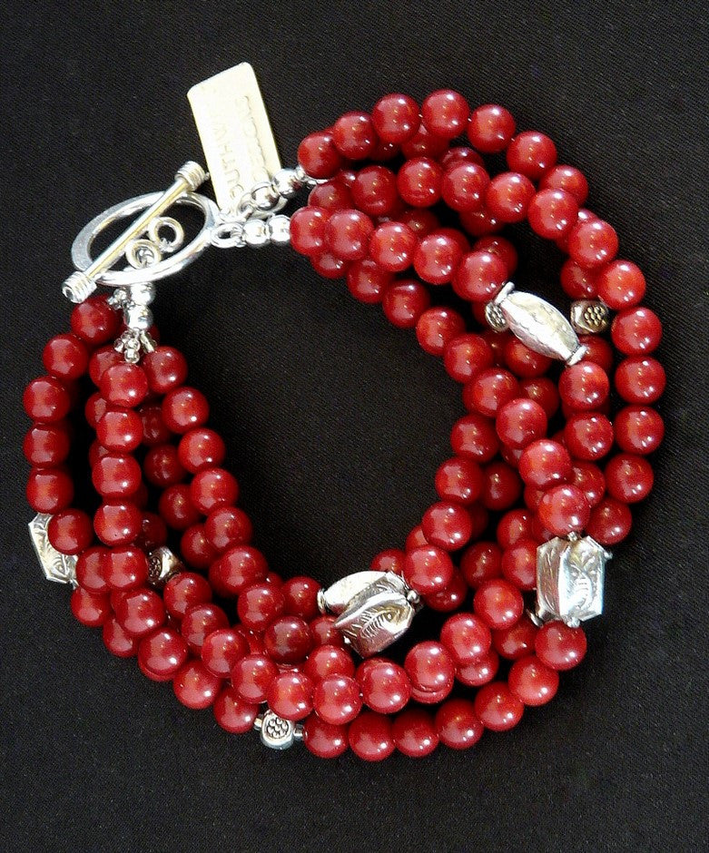 Burgundy Coral 6-Strand Bracelet with Ornate Sterling Silver