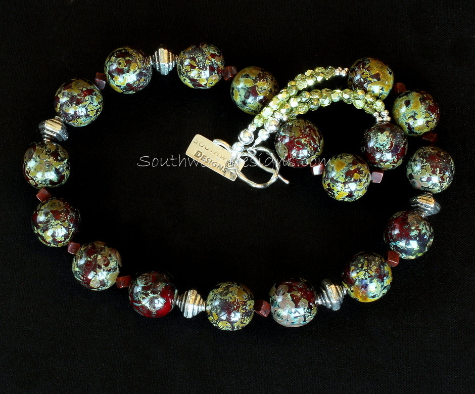 Burgundy, Gold and Moss Green Art Glass Necklace with Fire Polished Glass and Sterling Silver