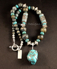 Campitos Turquoise and Sterling Silver Pendant with Turquoise, Kazuri Cylinders and Sterling