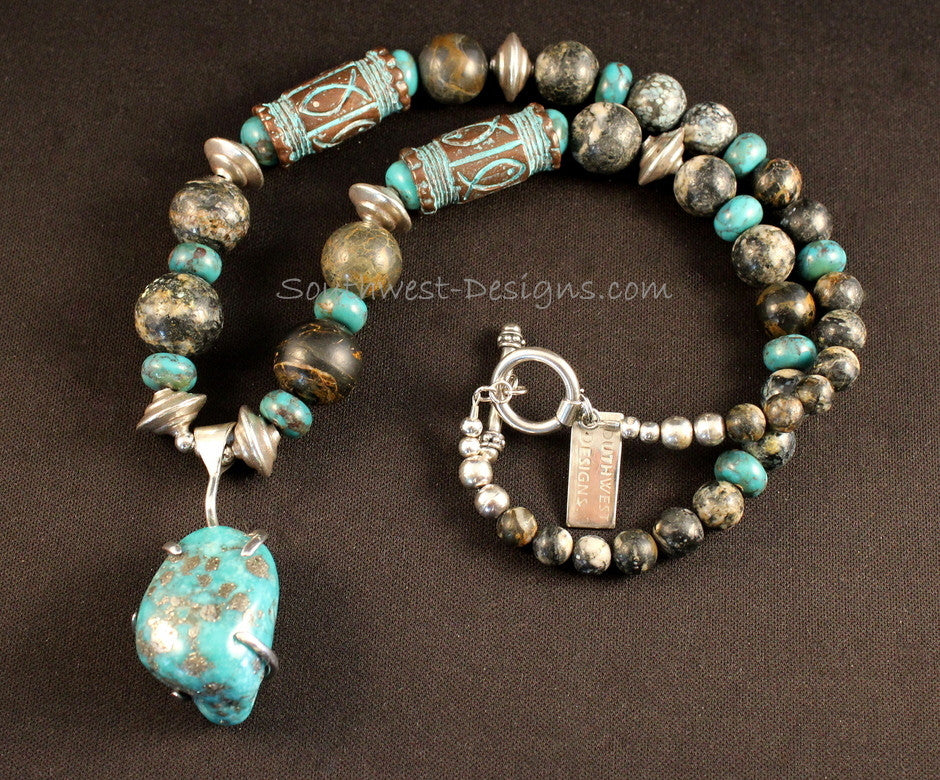 Campitos Turquoise & Sterling Pendant with Turquoise Rounds & Rondelles