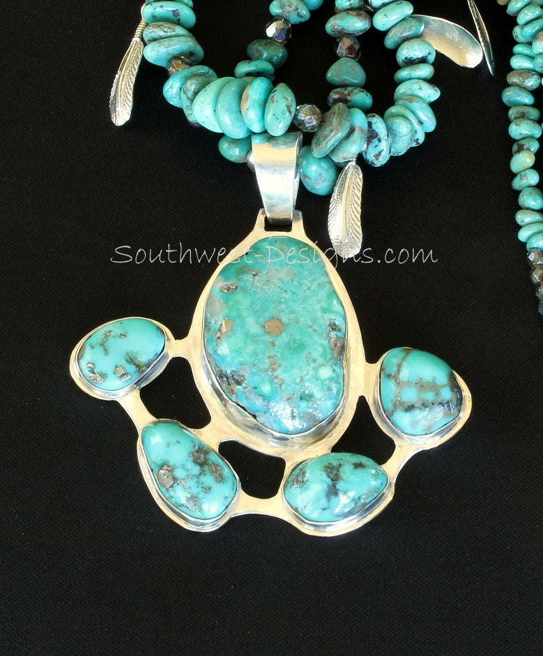 5-Stone Campitos Turquoise and Sterling Silver Pendant with Turquoise Nuggets and Sterling Silver Leaf Charms