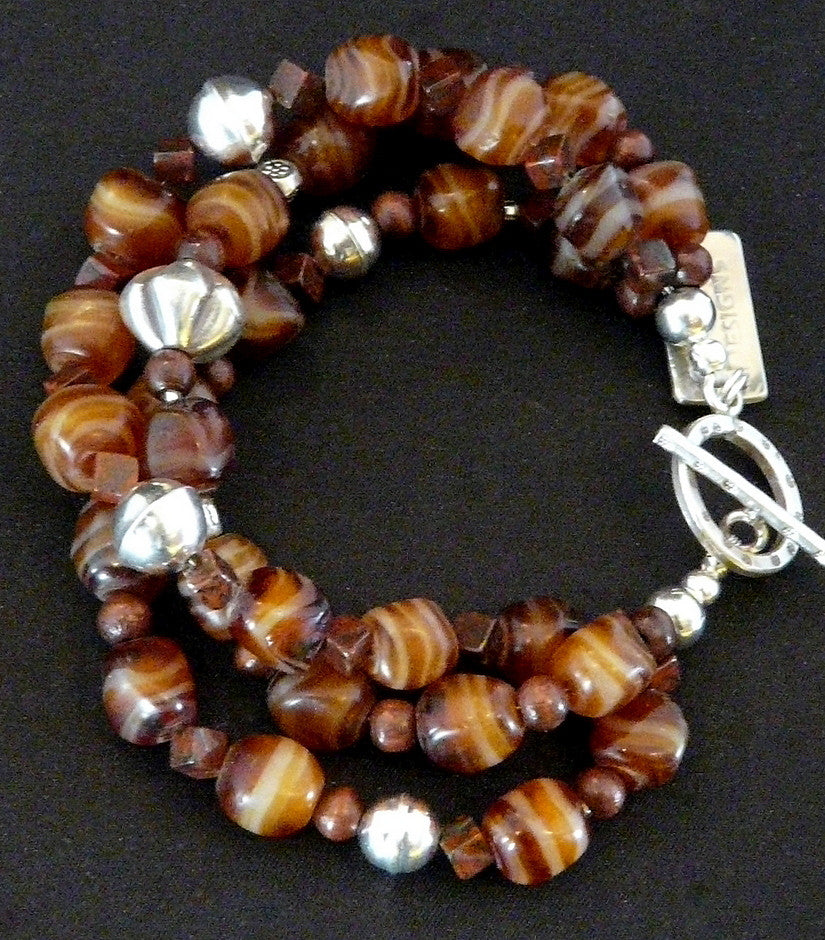 Vintage Carnelian Agate 3-Strand Bracelet with Jasper and Sterling Silver