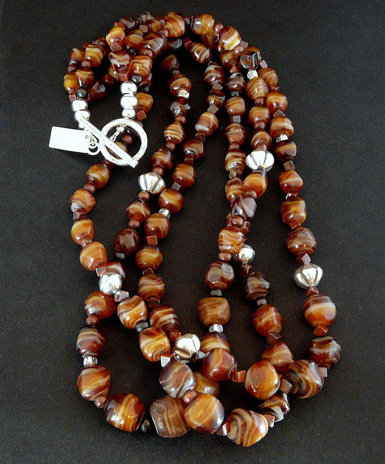 Vintage Carnelian Agate 3-Strand Bracelet with Red Jasper Cubes and Sterling Silver