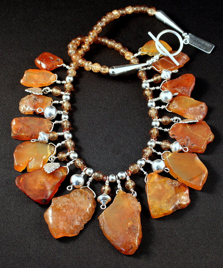 Carnelian Rough-Cut Petal Necklace with Sterling Silver