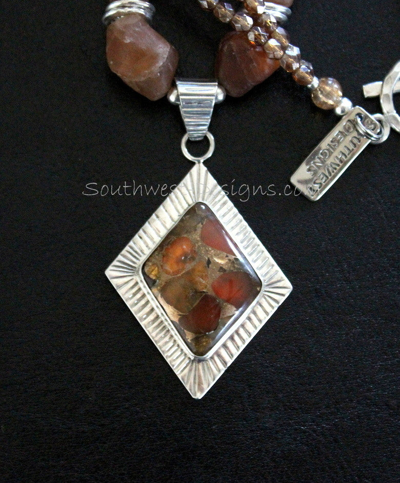 Carnelian, Pyrite and Sterling Silver Pendant with Fractured Carnelian