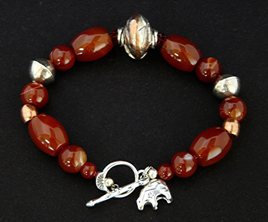 Carnelian Barrel and Round Bead Bracelet with Copper & Sterling