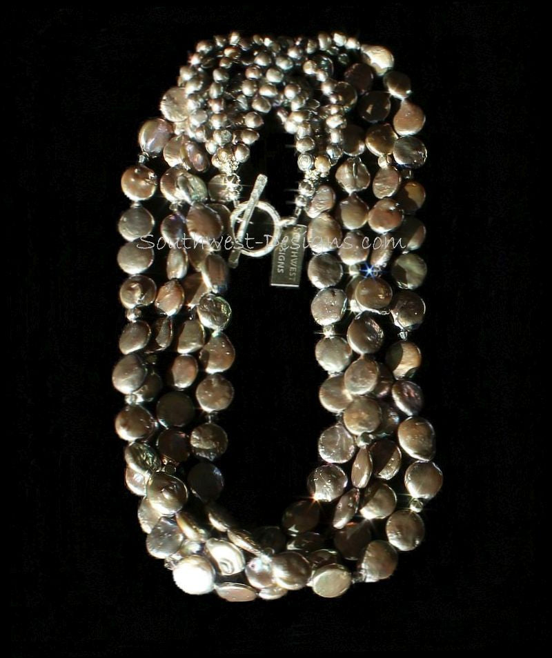Champagne Coin & Nugget Pearl 4-Strand Necklace with Fire Polished Glass and Sterling Silver