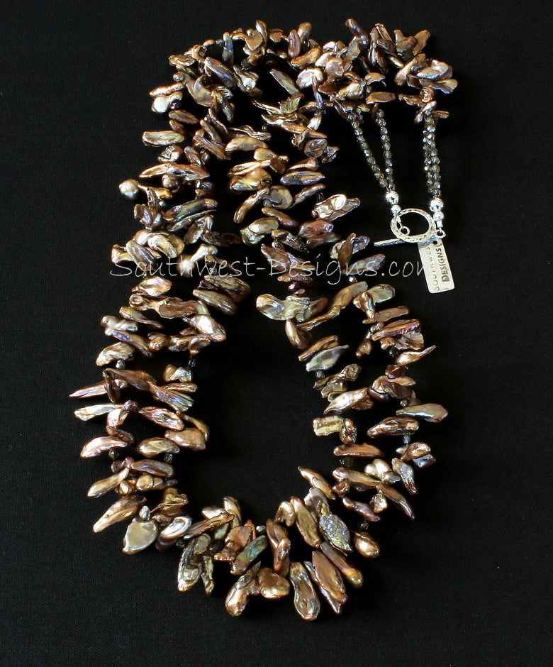Champagne Keshi Pearl 2-Strand Necklace with Czechoslovakian Nailheads, Fire Polished Glass and Sterling Silver