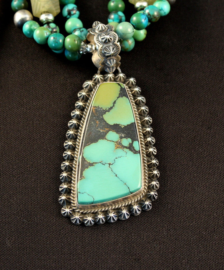 China Mountain Turquoise & Sterling Pendant with Turquoise Rounds